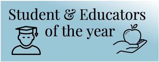 Students and educators of the year written on a blue rectangle