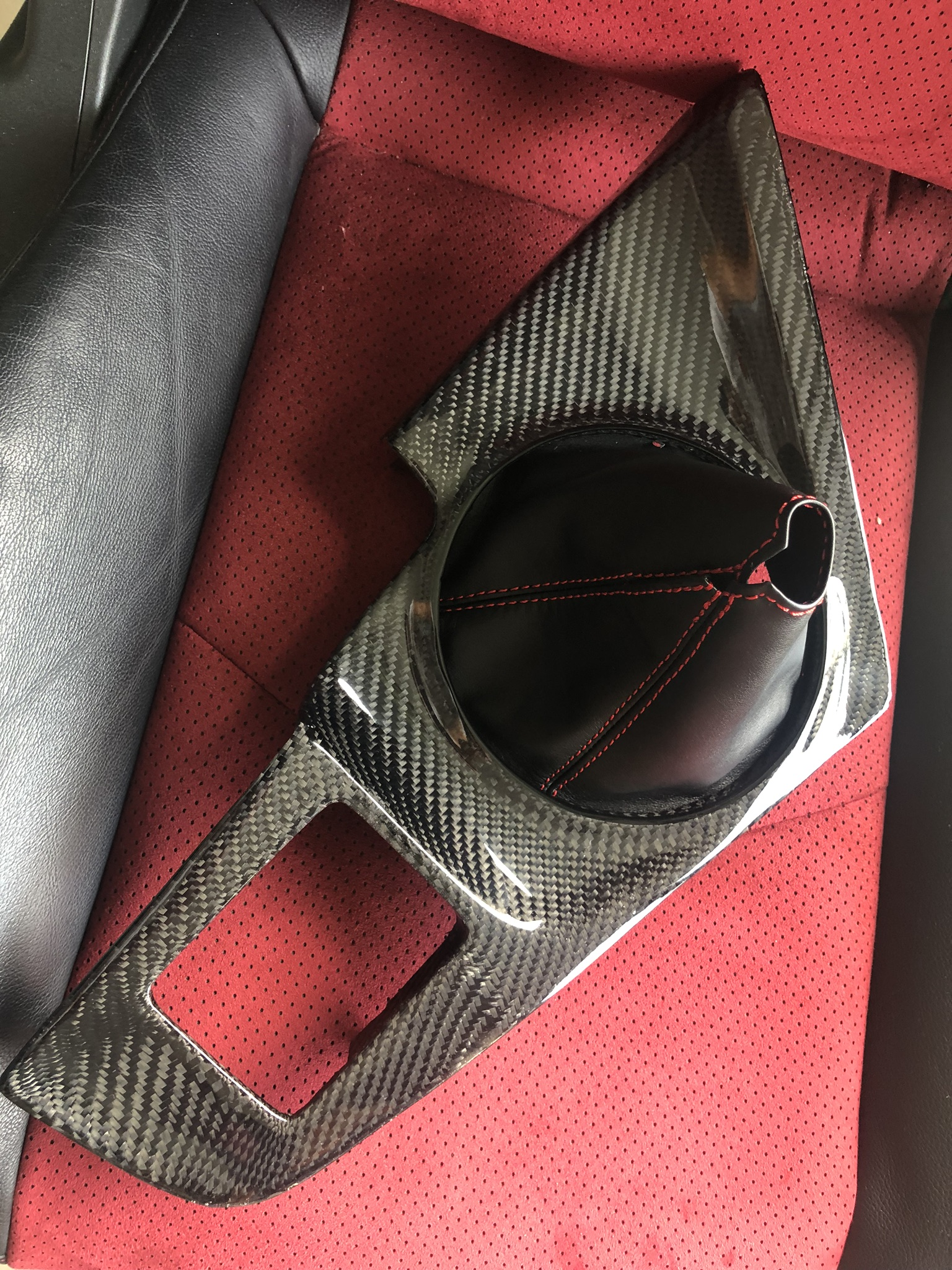 93-98 Toyota Supra JZA80 Carbon Fiber Manual MT Shifter panel / red stitch leather shift boot(LHD)